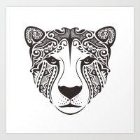 Tribal Cheetah Head Art Print