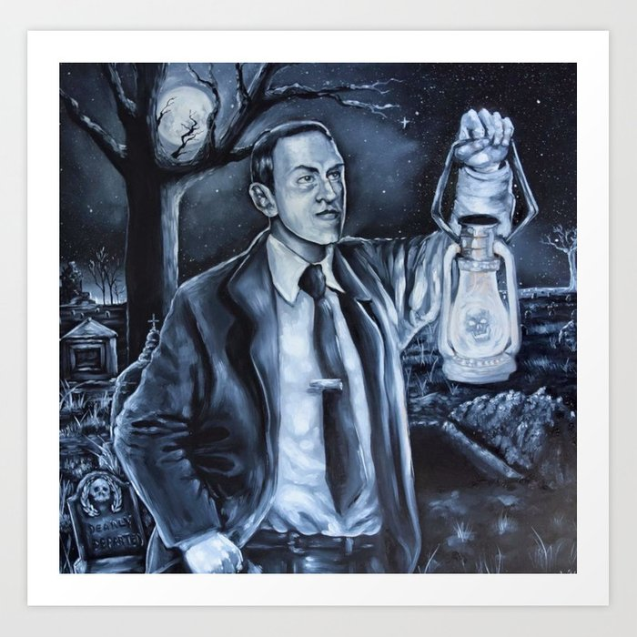 H P Lovecraft in Cemetery Art Print by manicprice