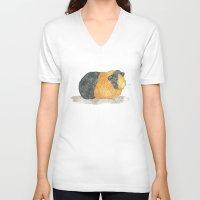 guinea pig V-neck T-shirts featuring Guinea Piggle by Elena O'Neill