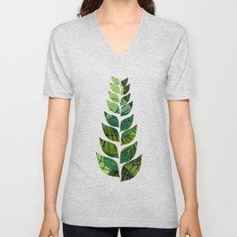 Leaf Pattern Unisex V-Neck