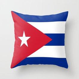 Flag of Cuba -cuban,havana, guevara,che,castro,tropical,central america,spanish,latine Throw Pillow