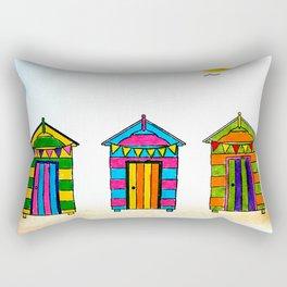 Seaside Beach Huts Rectangular Pillow