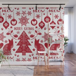 Merry Catmas Scandinavian Folk Art Wall Mural