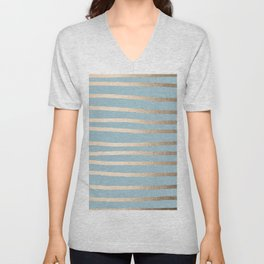 Abstract Drawn Stripes Gold Tropical Ocean Sea Blue Unisex V-Neck