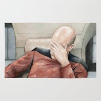 picard Area & Throw Rugs featuring Picard Facepalm Meme by Olechka