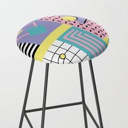 Memphis Pattern 27 - 80s - 90s Retro / 1st year anniversary design Bar Stool