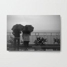 Couple at the rain, b&w Metal Print