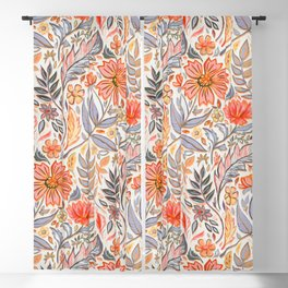 Coral Pink, Red and Lilac Art Nouveau Floral Blackout Curtain