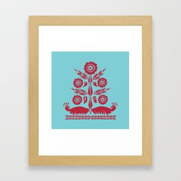 Khasi Tribal Motif (Aqua, Red) Framed Art Print
