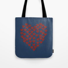 Hearts Heart Red on Navy Tex Tote Bag