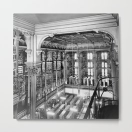 A Book Lover's Dream - Cast-iron Book Alcoves Cincinnati Library black and white photography Metal Print