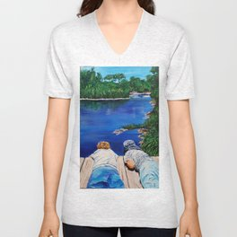 Waiting  for the ripples to kiss the tiny quay   Unisex V-Neck