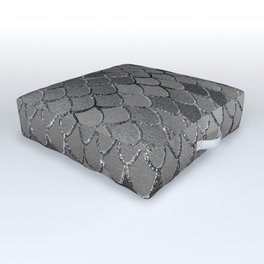 Mermaid Scales Silver Gray Glam #1 #shiny #decor #art #society6 Outdoor Floor Cushion