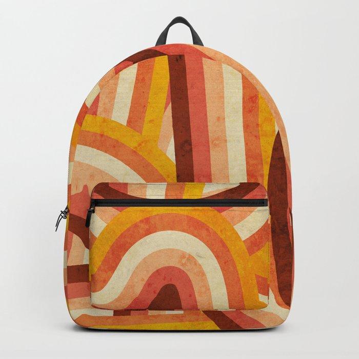 Vintage Orange 70's Style Rainbow Stripes Rucksack