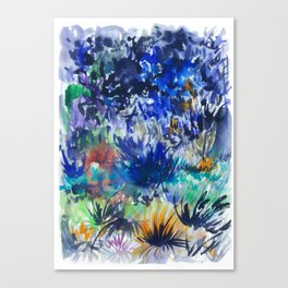 Watercolor wetland landscape Canvas Print