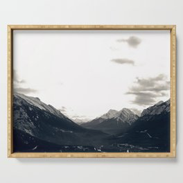 Grey Skies and Sunrise over Snow-Capped Mountains 03 Serving Tray