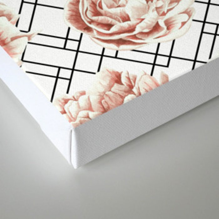 Rose Garden Vintage Rose Pink Cream White Mod Diamond Lattice Canvas Print