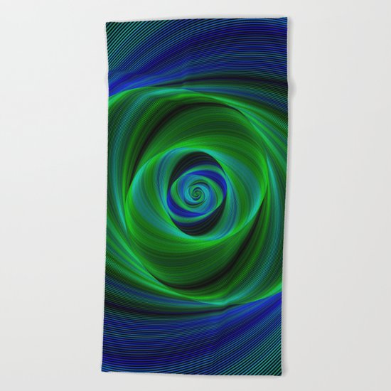 Green blue infinity Beach Towel