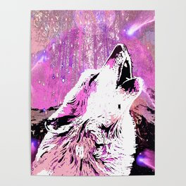 WOLF PINK MOON SHOOTING STARS Poster