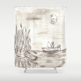 Moonlight Fishin' Shower Curtain