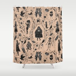 Creatures of the Night (orange) Shower Curtain