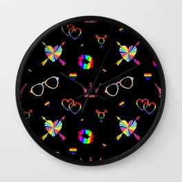LGBTQ icons pattern Wall Clock