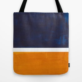 Navy Blue Yellow Ochre Abstract Minimalist Rothko Colorful Mid Century Color Block Pattern Tote Bag