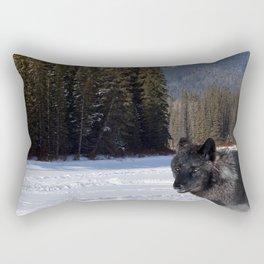 """""""Banff Wolf in Winter with Mt Cascade"""" Rectangular Pillow"""