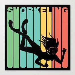 Retro Style Snorkeling Snorkeler Canvas Print