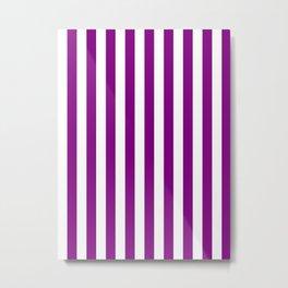 Narrow Vertical Stripes - White and Purple Violet Metal Print
