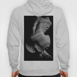 0727s-MM Black and White Striped Fine Art Nude Woman Back Bottom Butt Abstracted Hoody