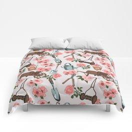Vintage gardening pattern Comforters