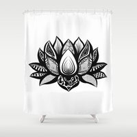 ornate Shower Curtains featuring Ornate Lotus by ZantosDesign
