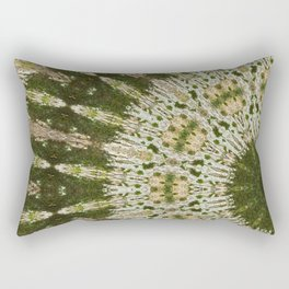 Tree Trunk Green and White Rectangular Pillow