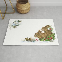 Winter in the forest - Animal Bunny Illustration Rug