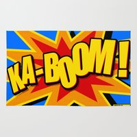 comic book Area & Throw Rugs featuring KA-BOOM! Classic Comic Book Style by Sterling Art