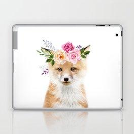 Baby Fox with Flower Crown Laptop & iPad Skin