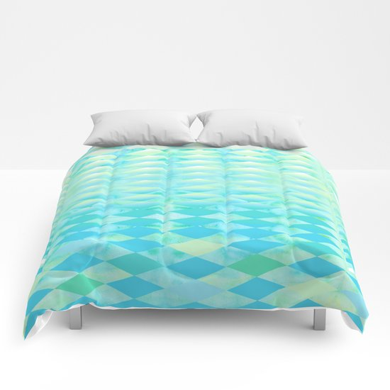 Aqua Watercolor With Ombre Harlequin Pattern Comforters