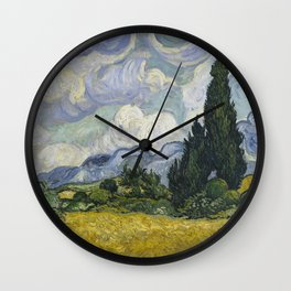 Wheatfield with Cypresses Wall Clock
