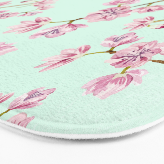 Spring Flowers - Mint and Pink Cherry Blossom Pattern Bath Mat