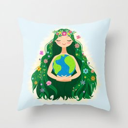 Beautiful Flowing Flower Earth Mother Figure Throw Pillow