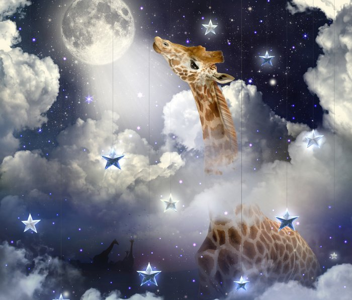 Shoot For The Moon (Giraffe In The Clouds) Metal Travel Mug