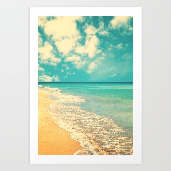 Waves of the sea (retro beach and blue sky) Art Print