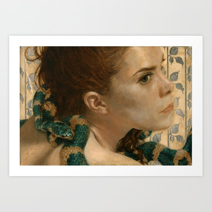 Original Sin Rebirth Portrait of Eve Woman & Green Snake Realistic Painting Art Print