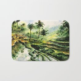 Sunny rice fields of Bali, Indonesia - Watercolor art Bath Mat