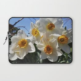 Sunny Faces of Spring - Gold and White Narcissus Flowers Laptop Sleeve
