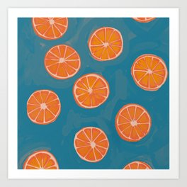 hand-painted california orange slices Art Print