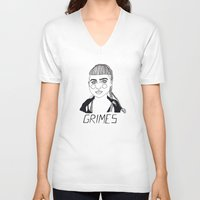 grimes V-neck T-shirts featuring Grimes by ☿ cactei ☿