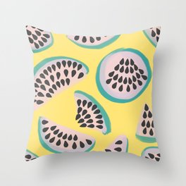 Abstract minimalist watermelons on yellow Throw Pillow