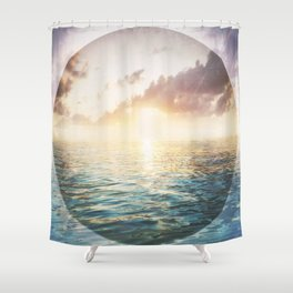 Bright Blue Horizons - red sky Shower Curtain